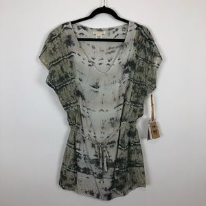 Lace and tie dye tunic cover up by billabong med